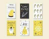 Χαριτωμένες συρμένες χέρι doodle κάρτες Χριστουγέννων Στοκ Φωτογραφία