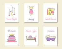 Χαριτωμένες συρμένες χέρι doodle κάρτες Στοκ φωτογραφία με δικαίωμα ελεύθερης χρήσης