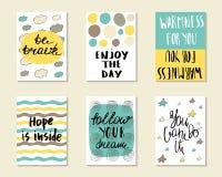 Χαριτωμένες συρμένες χέρι doodle κάρτες Στοκ Εικόνες