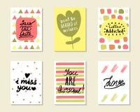 Χαριτωμένες συρμένες χέρι doodle κάρτες Στοκ εικόνες με δικαίωμα ελεύθερης χρήσης