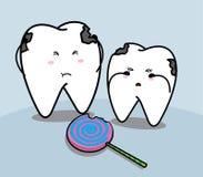 Χαριτωμένες λυπημένες δόντι και καραμέλα κινούμενων σχεδίων Στοκ φωτογραφία με δικαίωμα ελεύθερης χρήσης
