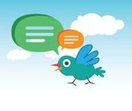 Χαριτωμένες φυσαλίδες πουλιών και ομιλίας κινούμενων σχεδίων διανυσματική απεικόνιση