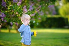 Χαριτωμένες φυσαλίδες σαπουνιών μικρών παιδιών φυσώντας στο πάρκο Στοκ Εικόνες