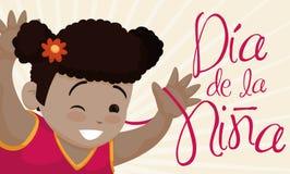 Χαριτωμένες χαμόγελο κοριτσιών Brunette και ημέρα παιδιών ` s εορτασμού στην ισπανική, διανυσματική απεικόνιση Στοκ Εικόνες