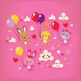 Χαριτωμένες bunnies και οι άρκτοι Στοκ φωτογραφία με δικαίωμα ελεύθερης χρήσης