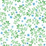 Χαριτωμένες ditsy λουλούδια, χορτάρια και χλόες πρότυπο άνευ ραφής watercolor Στοκ εικόνες με δικαίωμα ελεύθερης χρήσης