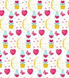 Χαριτωμένη άνευ ραφής ημέρα βαλεντίνων σχεδίων με τα λουλούδια, τόξο cupid, φίλτρο αγάπης, ρωμανικό ατελείωτο υπόβαθρο, σύσταση Στοκ Εικόνες