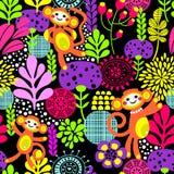 Χαριτωμένη άνευ ραφής σύσταση πιθήκων με τα λουλούδια Στοκ Φωτογραφίες