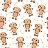 Χαριτωμένη άνευ ραφής σύσταση σκυλιών κουταβιών κινούμενων σχεδίων Ύφασμα υποβάθρου παιδιών επίσης corel σύρετε το διάνυσμα απεικ Στοκ εικόνα με δικαίωμα ελεύθερης χρήσης