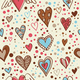 χαριτωμένη άνευ ραφής ταπετσαρία καρδιών doodle Στοκ Εικόνα