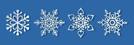 Χαριτωμένη άσπρη snowflakes συλλογή, διάνυσμα clipart στοκ εικόνες