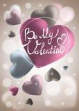 Χαριτωμένη έμβλημα ή ευχετήρια κάρτα βαλεντίνων αγάπης Θέση για το κείμενό σας Στοκ Φωτογραφία