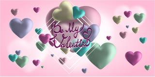 Χαριτωμένη έμβλημα ή ευχετήρια κάρτα βαλεντίνων αγάπης Θέση για το κείμενό σας Στοκ Εικόνα