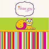 χαριτωμένη αγάπη γατών καρτών ελεύθερη απεικόνιση δικαιώματος
