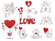 χαριτωμένη αγάπη γατών Μεγάλο σύνολο ημέρας βαλεντίνων Στοκ Εικόνες