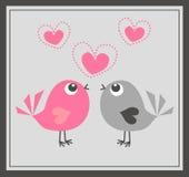 χαριτωμένη αγάπη δύο πουλιώ απεικόνιση αποθεμάτων