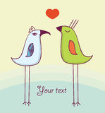 χαριτωμένη αγάπη δύο πουλιώ Στοκ Εικόνες
