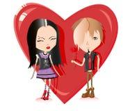 χαριτωμένη αγάπη emo ζευγών Στοκ Εικόνα
