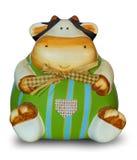 Χαριτωμένη αγελάδα-διαμορφωμένη piggy τράπεζα διακοσμημένο σε κεραμικό Στοκ Εικόνα