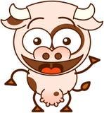 Χαριτωμένη αγελάδα που κυματίζει και που χαιρετά Στοκ Φωτογραφίες