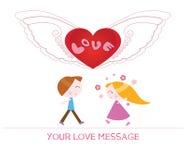 Χαριτωμένη απεικόνιση κινούμενων σχεδίων της νέων γυναίκας και του άνδρα ερωτευμένων απεικόνιση αποθεμάτων