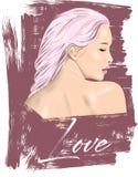 Χαριτωμένη απεικόνιση κοριτσιών Τελειοποιήστε για το εγχώριο ντεκόρ όπως οι αφίσες, τέχνη τοίχων, tote τσάντα, τυπωμένη ύλη μπλου διανυσματική απεικόνιση