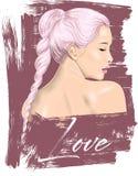 Χαριτωμένη απεικόνιση κοριτσιών Τελειοποιήστε για το εγχώριο ντεκόρ όπως οι αφίσες, τέχνη τοίχων, tote τσάντα, τυπωμένη ύλη μπλου ελεύθερη απεικόνιση δικαιώματος