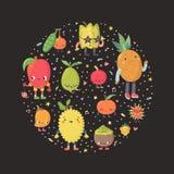 Χαριτωμένη απεικόνιση κύκλων φρούτων κινούμενων σχεδίων εξωτική μέρος δύο Στοκ φωτογραφία με δικαίωμα ελεύθερης χρήσης