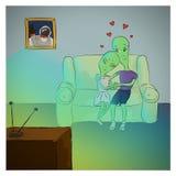 Χαριτωμένη απεικόνιση με τη ερωτευμένη TV καθίσματος και προσοχής αλλοδαπών Στοκ εικόνες με δικαίωμα ελεύθερης χρήσης