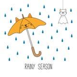 Χαριτωμένη απεικόνιση περιόδου βροχών διανυσματική απεικόνιση
