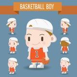 Χαριτωμένη απεικόνιση χαρακτήρα ενός αγοριού καλαθοσφαίρισης Στοκ φωτογραφία με δικαίωμα ελεύθερης χρήσης
