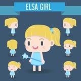 Χαριτωμένη απεικόνιση χαρακτήρα του κοριτσιού Στοκ Εικόνες