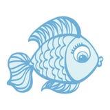 Χαριτωμένη απεικόνιση ψαριών κινούμενων σχεδίων συρμένη χέρι Στοκ Εικόνα