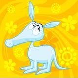 Χαριτωμένη απεικόνιση aardvark με αφηρημένος floral διανυσματική απεικόνιση
