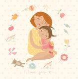Χαριτωμένη απεικόνιση mom που αγκαλιάζει τα παιδιά τους Στοκ Εικόνα