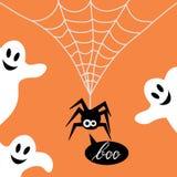 Χαριτωμένη αράχνη σε έναν Ιστό και ένα φάντασμα Στοκ φωτογραφία με δικαίωμα ελεύθερης χρήσης
