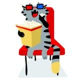 Χαριτωμένη αστεία γάτα στον κινηματογράφο με popcorn Αιλουροειδής χαρακτήρας ελεύθερη απεικόνιση δικαιώματος