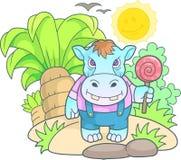 Χαριτωμένη αστεία εικόνα hippopotamus Στοκ Φωτογραφίες