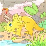 Χαριτωμένη αστεία εικόνα triceratops Στοκ Εικόνες