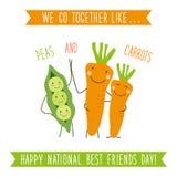 Χαριτωμένη ασυνήθιστη εθνική κάρτα ημέρας καλύτερων φίλων ως αστείους συρμένους χέρι χαρακτήρες κινουμένων σχεδίων και γραπτό χέρ ελεύθερη απεικόνιση δικαιώματος