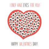 Χαριτωμένη ασυνήθιστη κάρτα ημέρας βαλεντίνων ` s με τον αστείο χαρακτήρα κινουμένων σχεδίων της καρδιάς με πολλά μάτια και γραπτ απεικόνιση αποθεμάτων