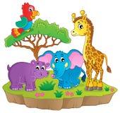 Χαριτωμένη αφρικανική εικόνα 2 θέματος ζώων διανυσματική απεικόνιση