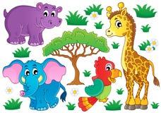 Χαριτωμένη αφρικανική συλλογή 1 ζώων διανυσματική απεικόνιση