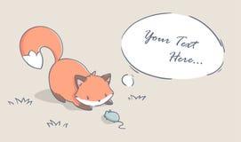 Χαριτωμένη αλεπού και λίγο ποντίκι Στοκ Εικόνες