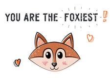 Χαριτωμένη αλεπού σκίτσων Απεικόνιση για την ημέρα βαλεντίνων Αγίου Απεικόνιση αποθεμάτων