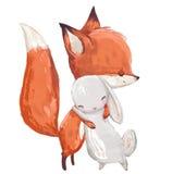 Χαριτωμένη αλεπού watercolor με τους λαγούς ελεύθερη απεικόνιση δικαιώματος