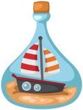 Χαριτωμένη βάρκα σε ένα μπουκάλι ελεύθερη απεικόνιση δικαιώματος