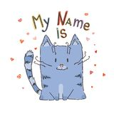 Χαριτωμένη γάτα κινούμενων σχεδίων με την εγγραφή Στοκ Εικόνες