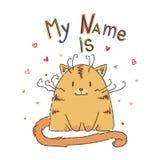 Χαριτωμένη γάτα κινούμενων σχεδίων με την εγγραφή Στοκ Φωτογραφίες