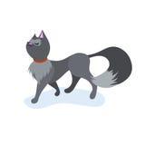 Χαριτωμένη γάτα κινούμενων σχεδίων, που περπατά με το αστείο πρόσωπο Στοκ Εικόνες